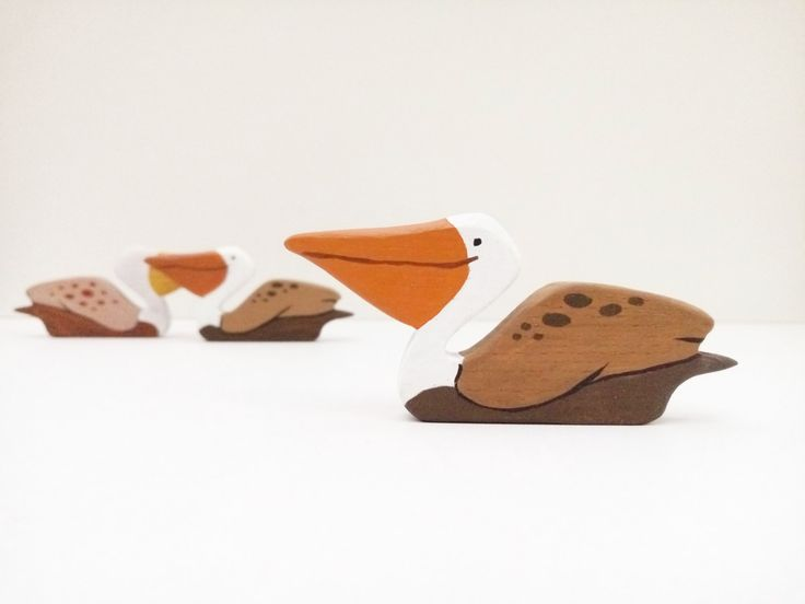 Wooden Pelican toy Birds toys Wooden Bird toy Pretend play Bird toy figurine Learning toys for toddlers by WoodenCaterpillar on Etsy