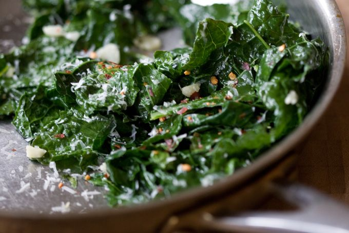 Garlicky Greens: Kale and Spinach/or Chard; sauteed with Garlic, red pepper and Parmesan cheese