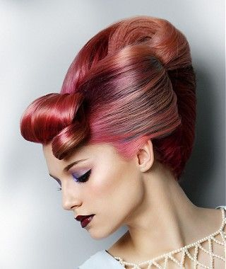 A long pink straight coloured multi-tonal volume sculptured updo womens hairstyle by TPL Hairdressing