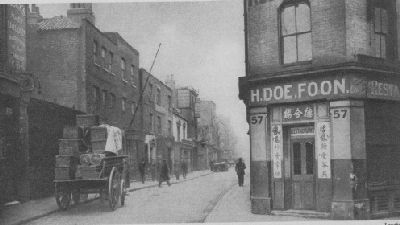 Pennyfields Road, leading from West India Dock Road towards Poplar High Street, including H. Doe Foon's restaurant, No. 57.  St. John Adcock, Wonderful London, (1926/7), vol. III, p.1013.