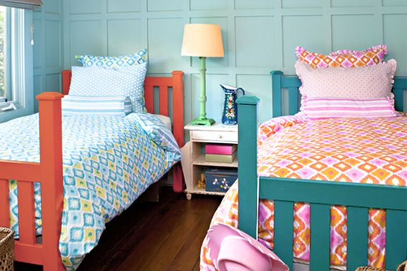 shared girls room with twin beds decor ideas   Bedrooms for Siblings of Different Ages