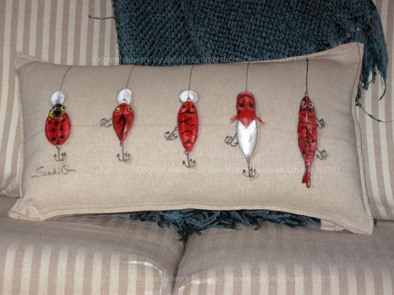 FISH PILLOW Red Crank Bait Decorative Pillow Sham Bass Fishing Rustic Cabin Decor
