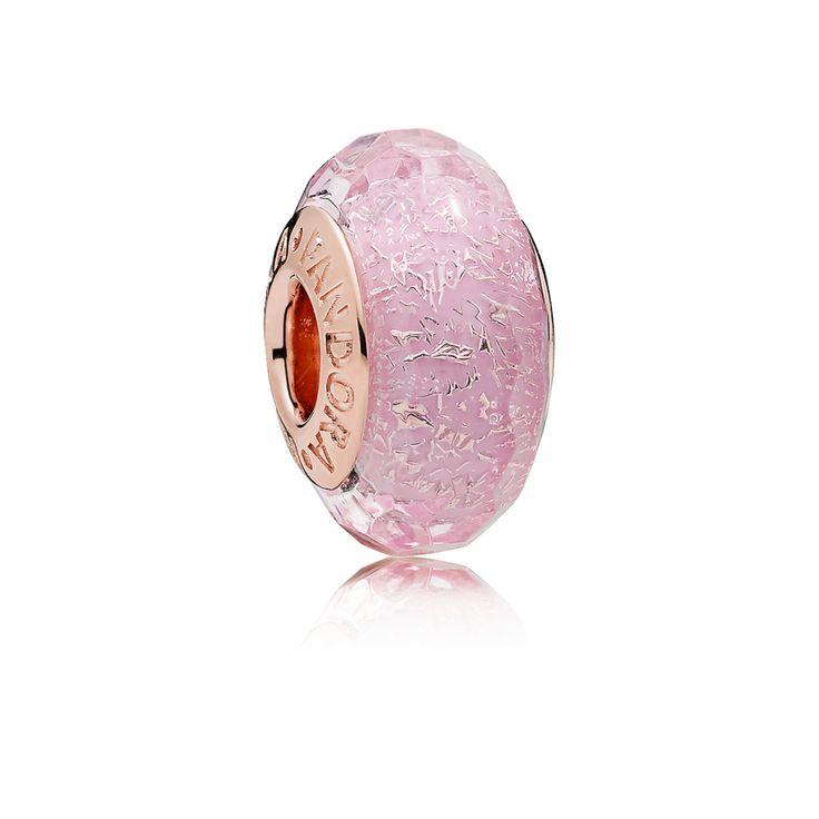 Charm Vetro di Murano Sfaccettato Rosa Scintillante ...