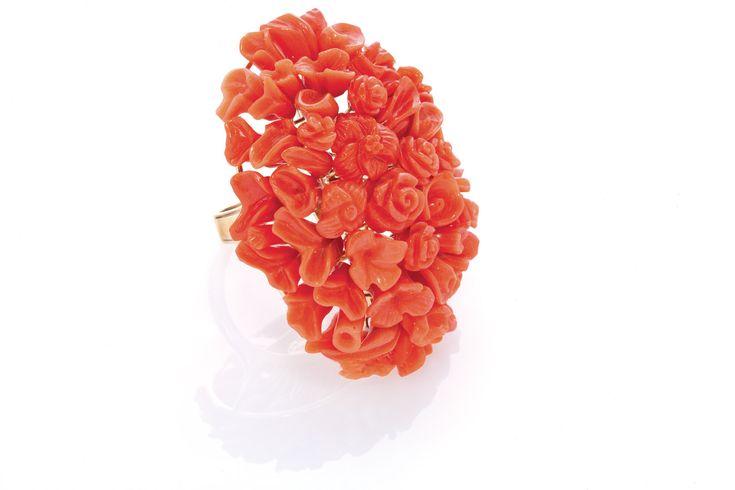 Anello Essenze, Creazioni Oro di Sciacca, gioielli in corallo
