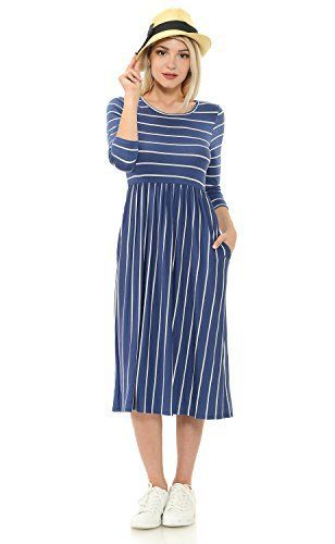 New Trending Formal Dresses: Iconic Luxe Womens Contrast Striped Fit and Flare Midi Dress with Pockets Large Denim. Iconic Luxe Women's Contrast Striped Fit and Flare Midi Dress with Pockets Large Denim   Special Offer: $29.99      277 Reviews This dress is super cute and comfortable. It can easily be dressed down or up with just a change of shoes and accessories. For a relax look, pair with...