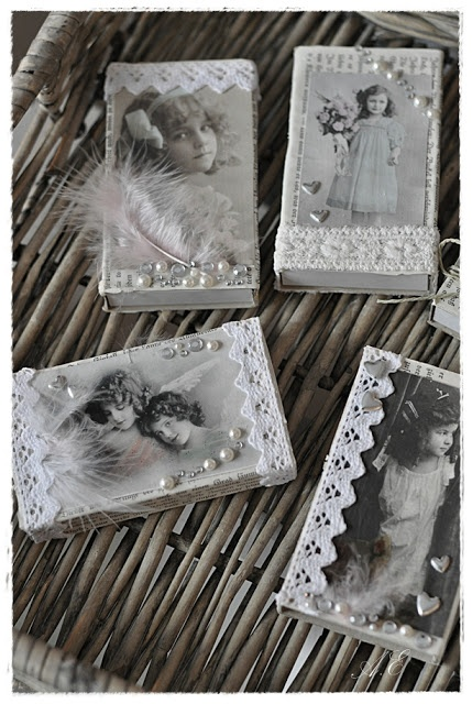 Idea for making mementos of a loved one who has passed away.  Photo of loved one on the outside, actual memento, more tiny photos, and/or written memory inside.