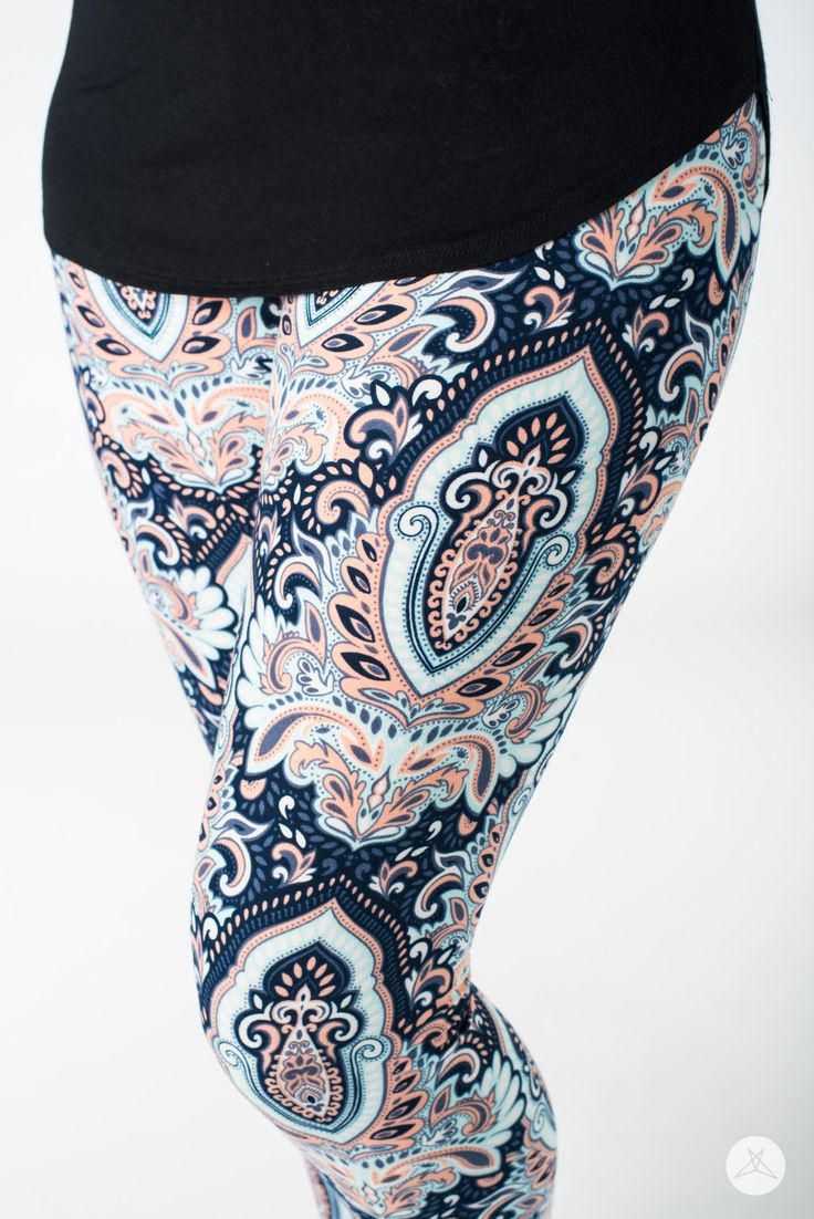 Her Elegance |  SweetLegs.ca  SweetLegs Her Elegance are a timelessly, elegant print, featuring an ornate peachy-pink, shades of blue and white print atop a richly saturated navy background.
