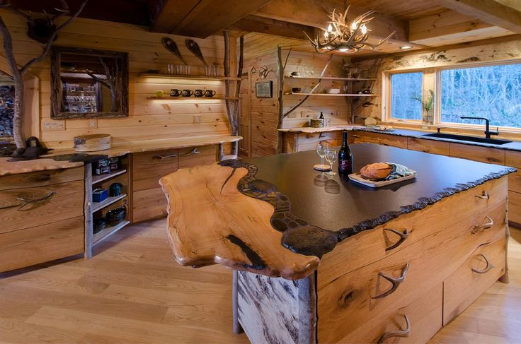 Best Live Edge Countertop Kitchen Birch Bark Custom Cabinet 400 x 300