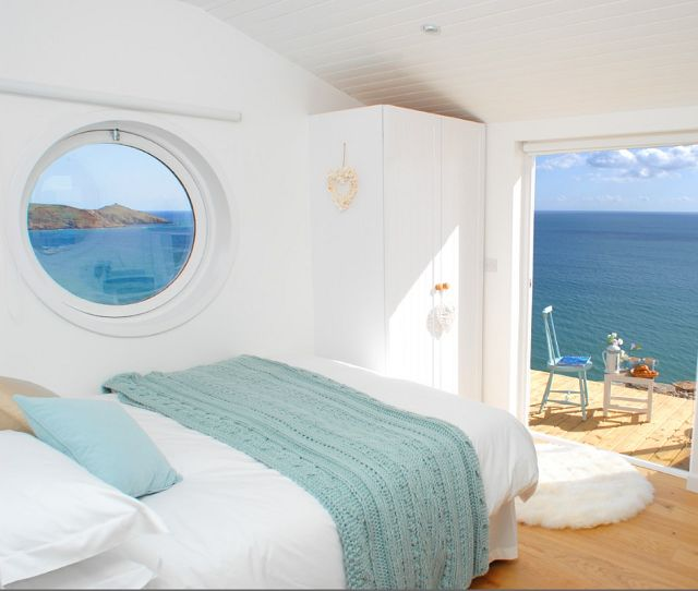 Holiday Beach Hut ❤ Wish list, hut by the beach..all white..with comfy bed...by the sea..