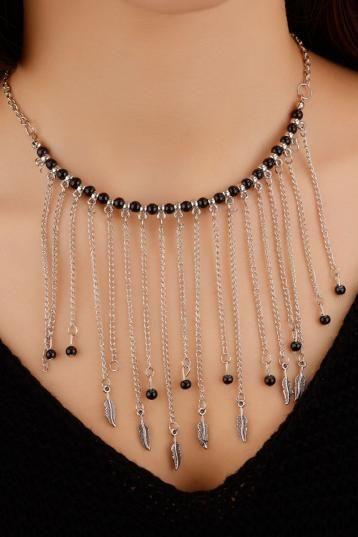 Siyah Boncuk Tasarımlı Gri Zincir Detaylı Saçak Modelli Bayan Kolye