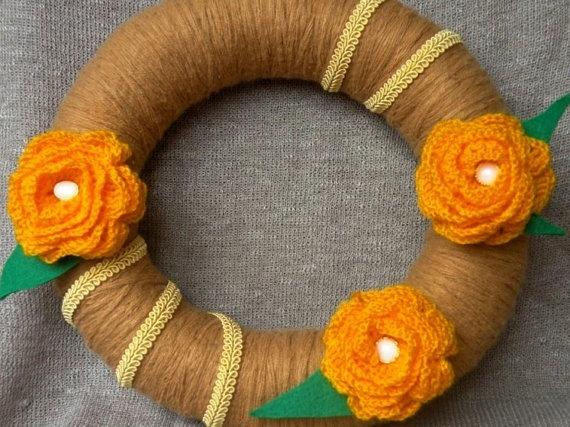 Spring wreath  -  Yellow flowers  -  Vintage wreath  -  Crochet flowers  - Summer wreath