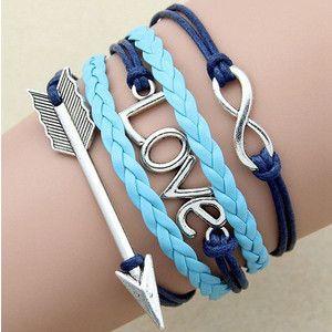 arrow bracelet,love charm,infinity bracelet,leather wrap bracelet,couple bracelet,lovers gift,womens bracelet,unique,handmade jewelry,blue