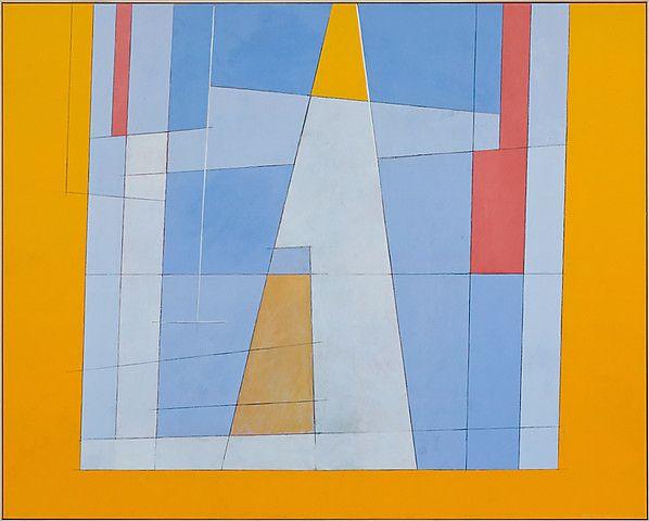 Irma Salo Jæger <em>Lysning mot gult</em><br />tempera og olje på lerret, 162x200 cm