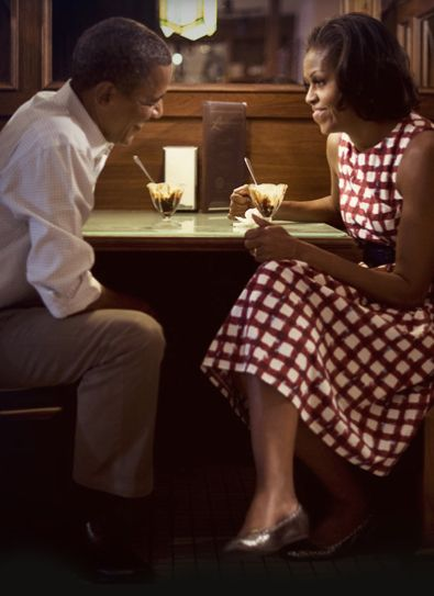 """Barack and Michelle Obama <3. Anecdote: the couple wanted some time with themselves so they went to a little out-of-the-way place. The owner asked the SS man if he could speak to the First Lady. When she returned, she explained to her husband that he was an old boyfriend.  """"If you had married him, you would now own this charming restaurant,"""" he said. No, if I married him, he would now be President of the United States."""""""