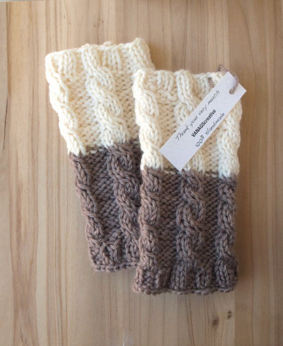 Knitted Boot Cuffs Ivory on Brown Knit Boot by VANAGScreative  Imitation is the best compliment...I am totally making these.
