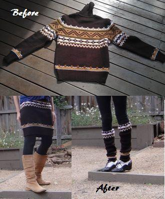Sweater skirt, arms as legwarmers #refashion