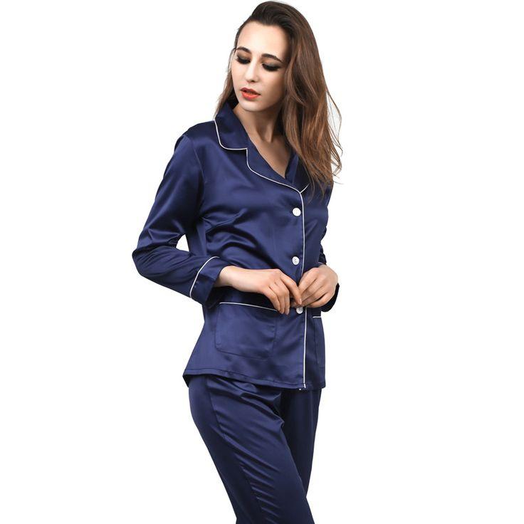 New Women Satin Pajama Set Robe Silk Pajama Sets Full Sleeve Sleepwear 2 Pieces Silk Homewear Turn-down Collar Pijama Loungewear #Affiliate