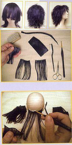 Делаем кукле волосы из распущенной шелковой ленты..