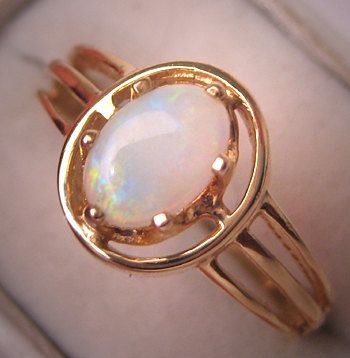 Vintage Opal Ring Yellow Gold Setting Wedding by AawsombleiJewelry