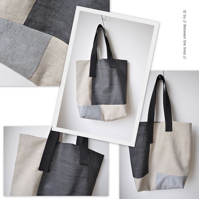 Ohhh...ohhh...ohhh...beautiful asymmetric denim with linen bag by Pascale M. Between the Lines.