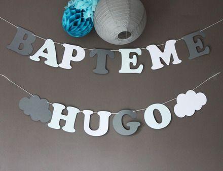 """Guirlande """"BAPTEME"""" + """"PRENOM""""de 4 lettres (il faut ajouter 1€ par lettre supplémentaire + 2 sujets (anges, montgolfière, voiture, étoiles, coeur, nuages ...)en papier sur cor - 15964502"""