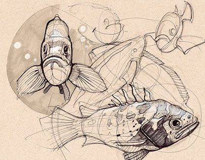 Fish study by Daruo Wang.