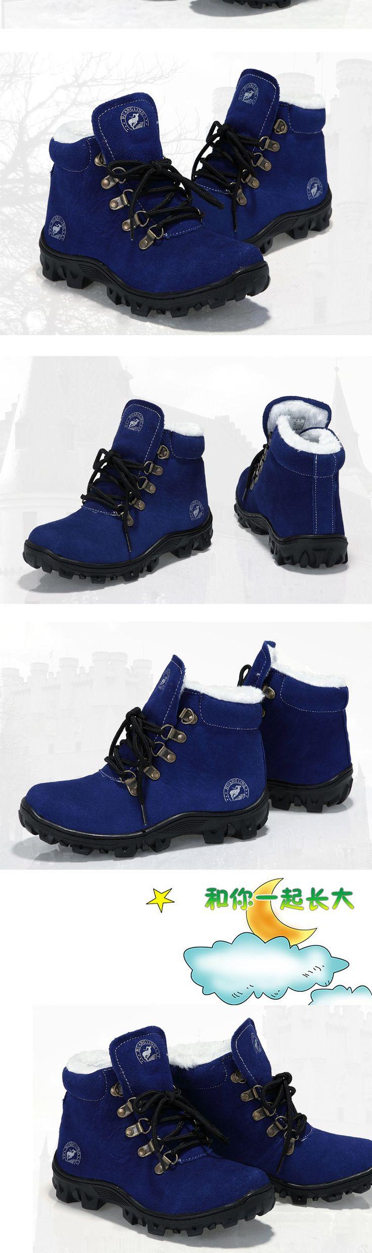 Мальчики и девочки зимние ботинки Мартин сапоги ребенок модели дополняется кожи высокого верха кожаные сапоги с низким трубки снега сапоги корейской Tide - Taobao