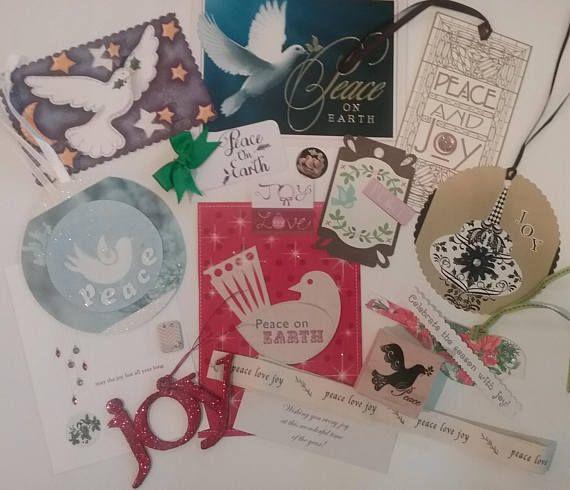 Peace Joy & Love Craft Paper Kit Christmas Embellishments