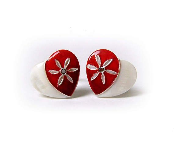 Mother-Daughter Heart Red Hand-Painted Pearl Ring