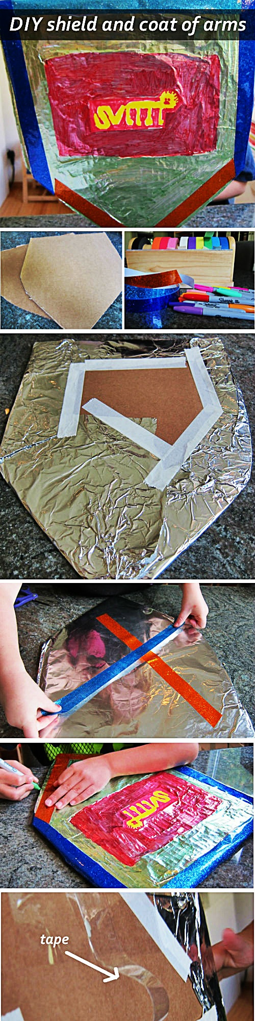 How to make your own DIY shield and coat of arms -- great for learning about knights and the Medieval period