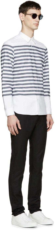 Burberry Brit - White & Navy Breton Stripe Shirt