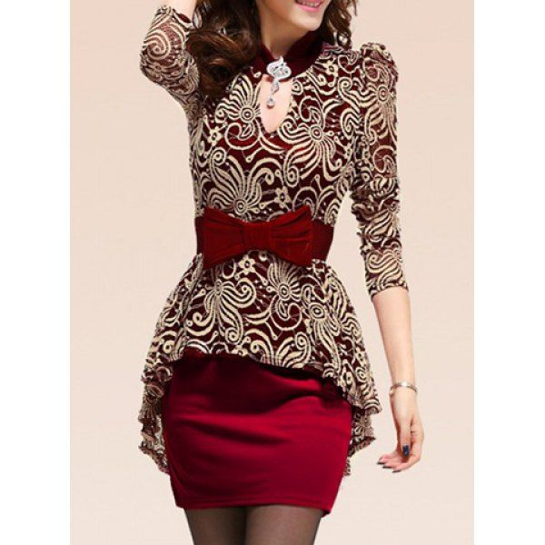 Lace Splicing Packet Style Long Sleeves Peplum Dress For Women...this would be pretty in navy instead of red