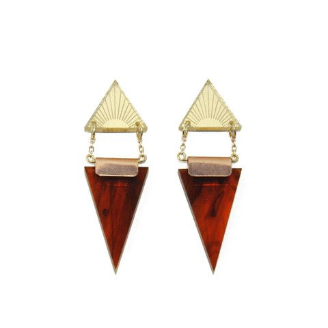 Double Triangle Earrings in Gold/Tortoiseshell. By Wolf & Moon.