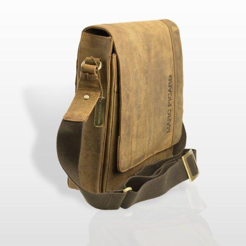 Hellbraun-Marc-Picard-Leder-Tasche-Umhaengetasche-Schultertasche-Messenger-Bag-28