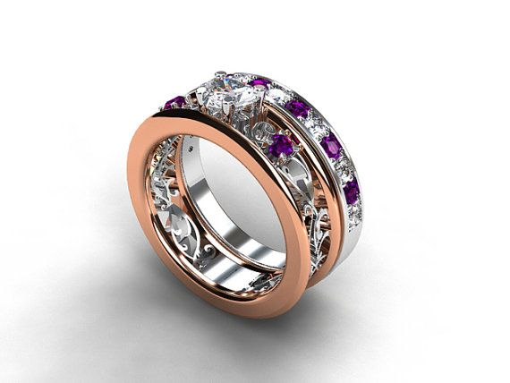 Two tone engagement ring set with heart cut white sapphire and amethysts by TorkkeliJewellery, $3699.00