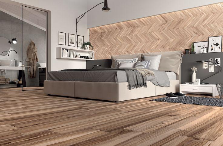 warm and cosy bedroom design featuring water resistant wood effect floor tiles from mirages koru tile