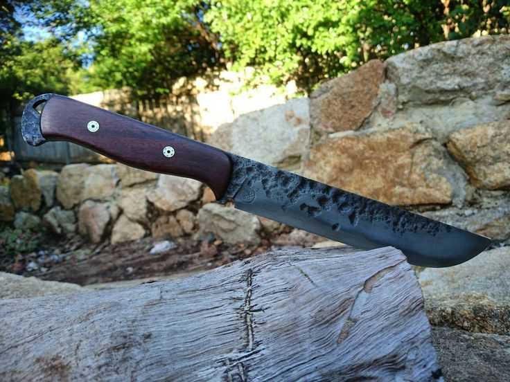 """32 Likes, 3 Comments - Flynn Sharp (@flynn_sharp_knives) on Instagram: """"Made a camp knife! Dark themed with dense jarrah handle and mosaic pins. Differentially hardened…"""""""