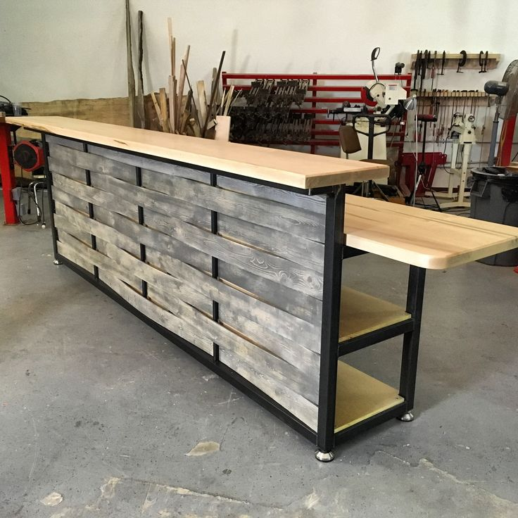 Custom Serving Table Island Bar W Spalted Maple And Basket Weave Front  Finish