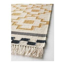 Upstairs living room  ALVINE RUTA Rug, flatwoven, white/yellow - IKEA