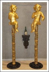 Due Sculture Putti legno dorato epoca '600 Roma. Antiquariato su Arsantik