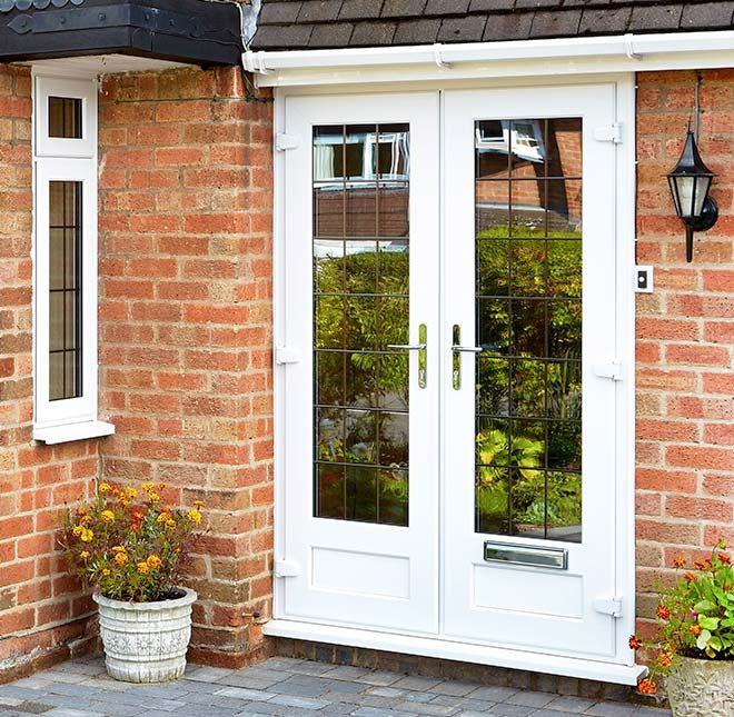 Upvc French Doors With Cat Flap Of Everest White Upvc French Doors Shown From A Frontal View