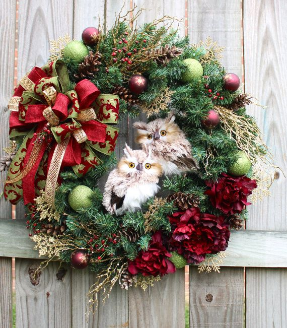 Rustic Burgundy Gold Moss Winter Owls Wreath, Christmas, Woodland, Cabin, brown Owl, owl couple, green, wine, Elegant on Etsy, $159.99