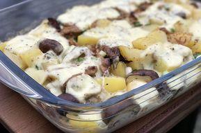 Pulled+Pork+Auflauf+mit+Kartoffeln+und+Raclette-Käse