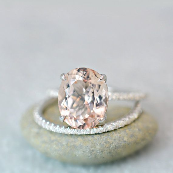 340 ct oval cut morganite diamond engagement ring on 14k white gold - Colored Wedding Rings