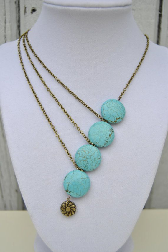 Asymmetrical Turquoise Stone and Chain Necklace by LiebchenJewelry, $16.50
