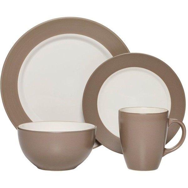 Bradley Taupe 16 Piece Dinnerware Set ($50) ❤ liked on Polyvore ...