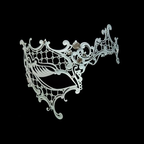 White Decorative One Eye Metal Venetian Half Mask