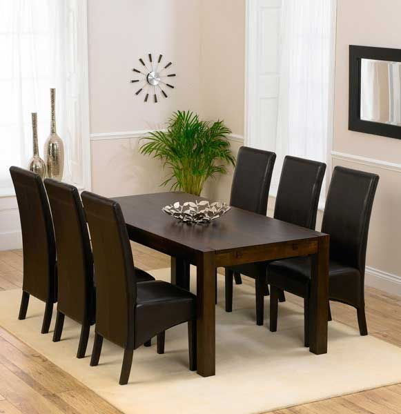 discount verona 180cm dark solid oak dining table with dakota chairs - Dining Room Furniture Oak