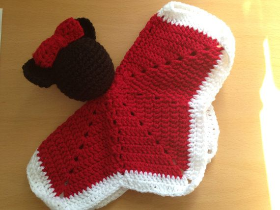 Crochet Pattern For Minnie Mouse Blanket : Minnie Mouse Lovey Blanket Hand Crocheted by ...