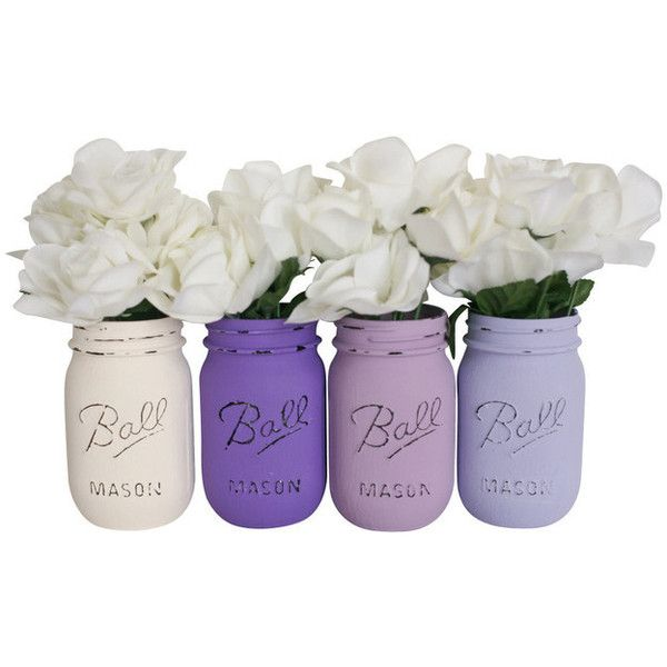 Painted Mason Jars, Set of 4, Purples and Cream - Beach Style - Vases... ❤ liked on Polyvore featuring home, home decor, filler, plants, accessories, flowers, purple home decor, alabaster jar, purple home accessories and pink home decor